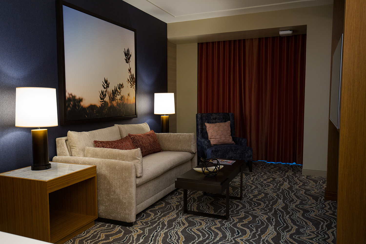 The living area in one of Pechanga's new rooms