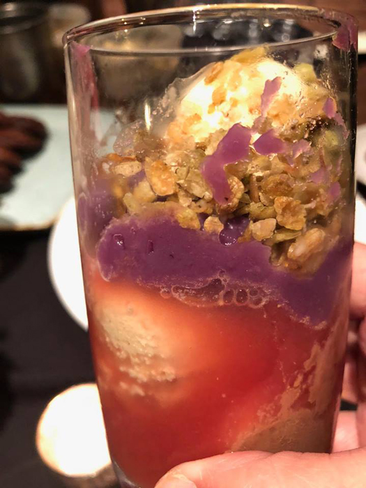Halo-Halo: watermelon ice, halayang ube, halayang langka, tumok and bulkan bananas, pinipig. (Photo courtesy of Elizabeth Ann Quirino & Elpidio P. Quirino)
