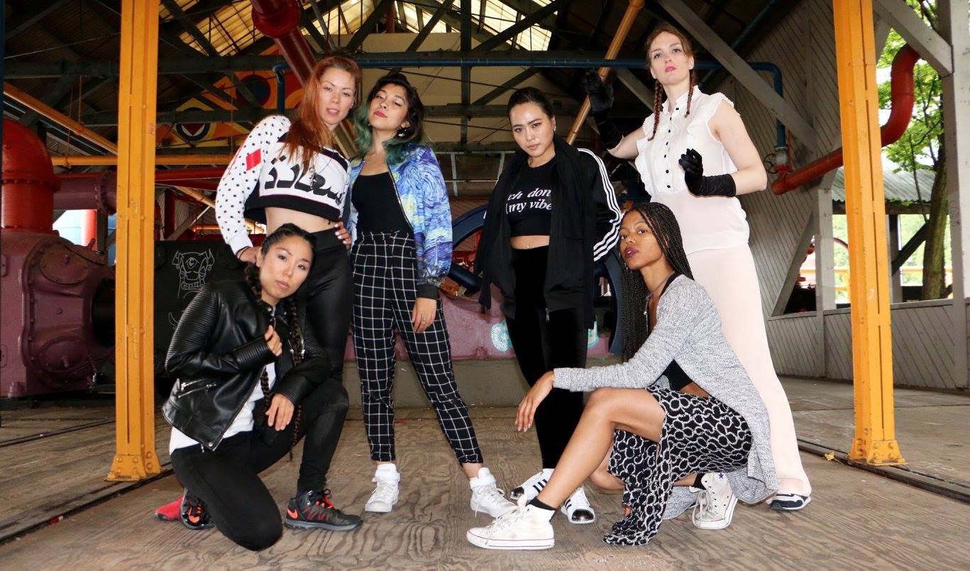 """The female streetdancers from """"Battle Grounds: the hard hits of female poppers.""""(Standing) Android, Moonyeka, Missy Soo Boogaloo, Agatron (Kneeling) Karma Kana, Angyil McNeal (Photo by Devon de Leña)"""