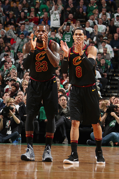Jordan Clarkson (right) with new teammate LeBron James (Photo courtesy of the Cleveland Cavaliers)