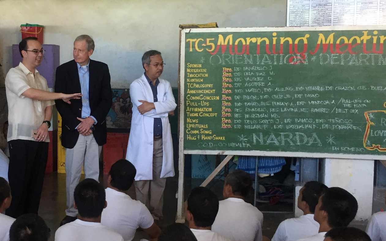 Senator Peter Cayetano with the US-Philippines Society Directors, Taguig Drug Rehabilitation Center, February 2017