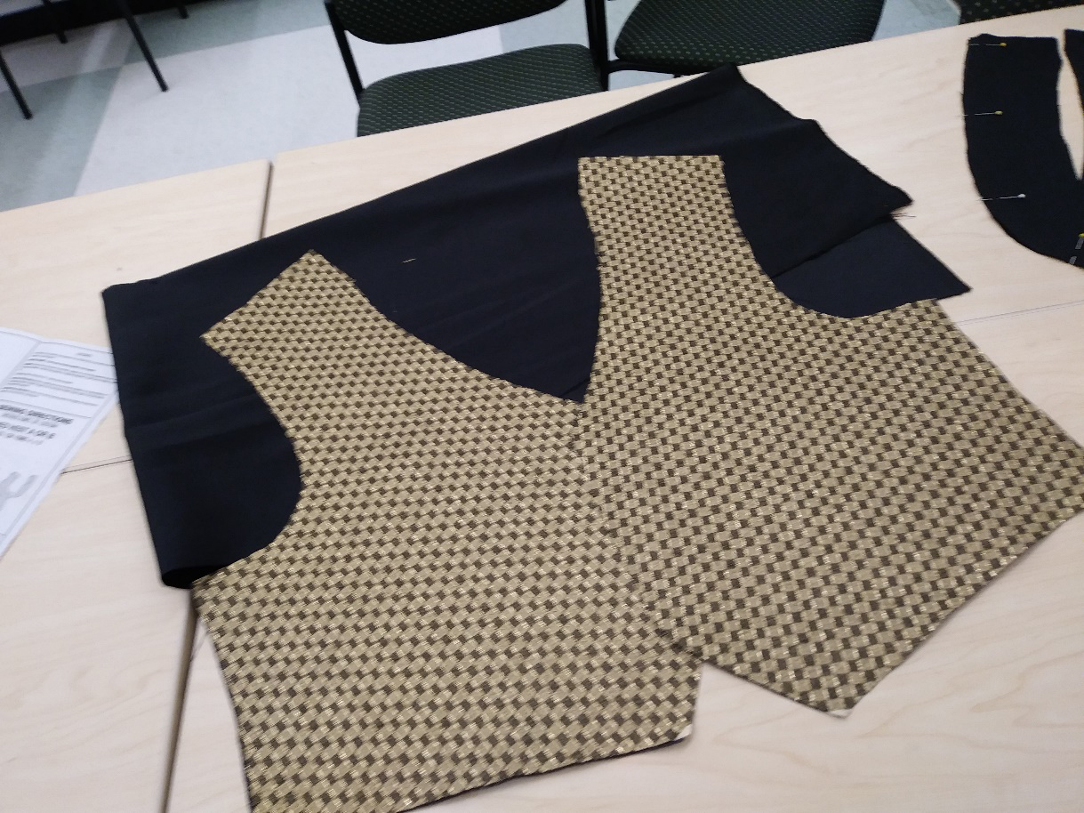 The front pieces cut out per the McCall's pattern.