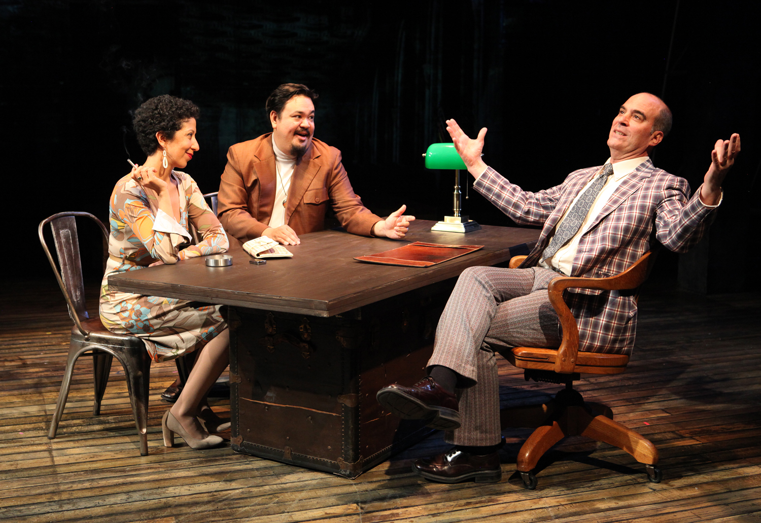 (L to R) Sarah Nina Hayon as Milagros, Chuck Lacson as Basilio, and Lawrence Radecker as Rick. (Photo by Jennifer Reiley)