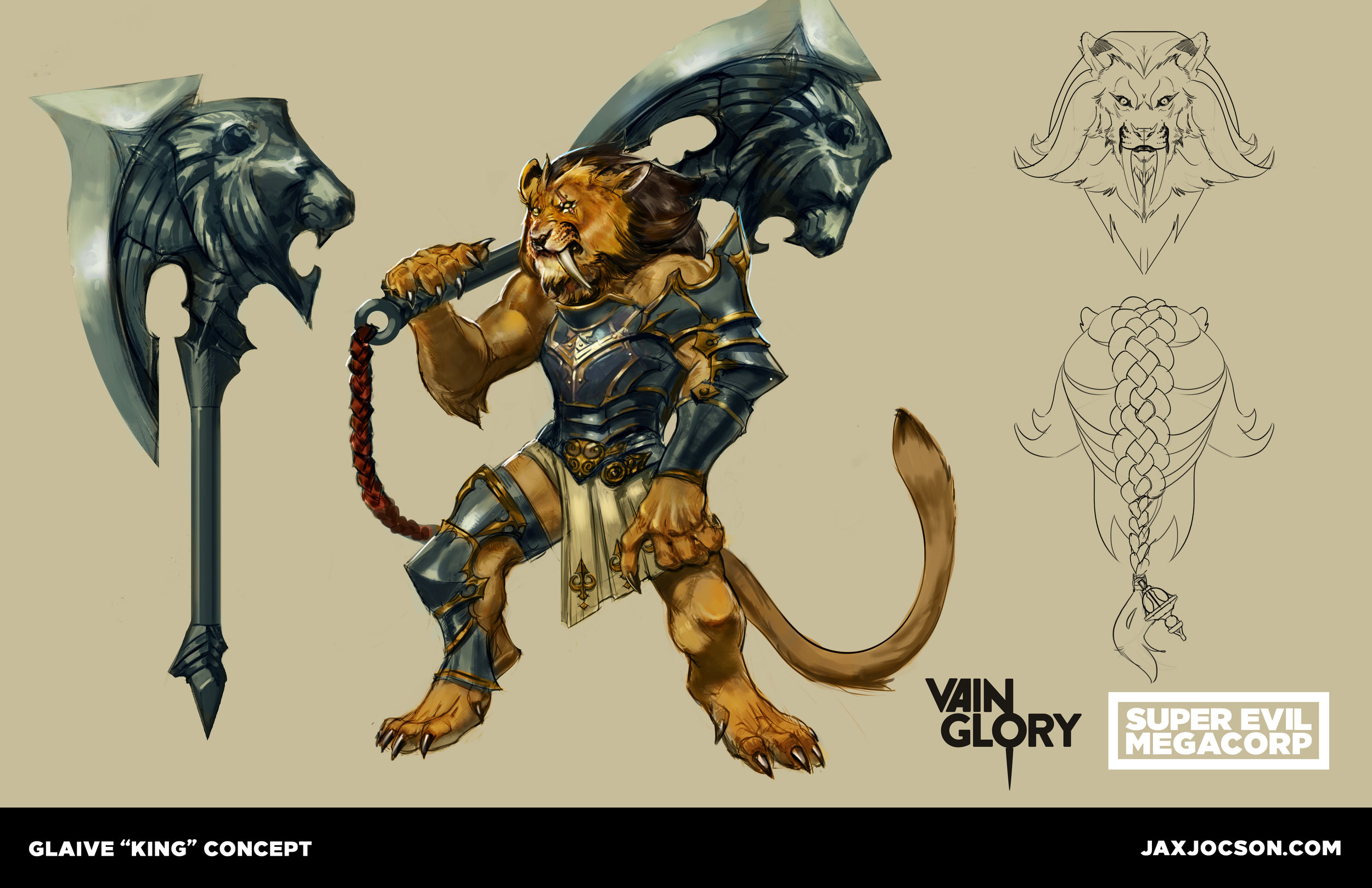 Designing skins for existing Heroes is a great assignment - as the designer you have to stick to the Hero's archetype and gameplay, but give it a fresh new spin. Glaive plays how he looks- big and strong! He comes sweeping into a team fight suddenly and stuns an enemy with his weapon. This design was fun to execute, especially his fluffy mane, ornate hair tie, and his regal, gladiator outfit.