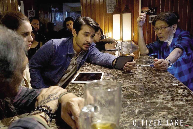 "Atom Araullo and director Mike De Leon on the set of ""Citizen Jake"""