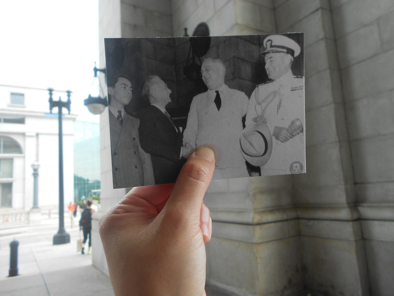 """The author went to Union Station and found the same spot where Franklin D. Roosevelt welcomed Manuel L. Quezon. (Photo courtesy of Quezon Family Collection. (L-R) Manuel """"Nonong"""" Quezon Jr., President Manuel Quezon, President Roosevelt and Capt. John McCrea)"""