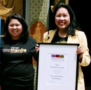 Dawn and Elena Mangahas at the Grauman Theater in Hollywood after Little Manila Foundation received the California Preservation Award in 2007. (Photo courtesy of Elena Mangahas)
