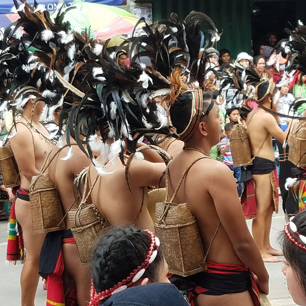 Bontoc backpacks on dancers in Mountain Province Lang-Ay festival. (Photo by Jill Stanton)