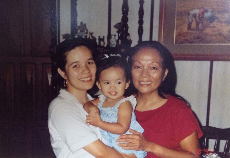 The author (center), with mom Cathy S. Babao (left) and grandmother Caridad Sanchez. (Photo courtesy of Cathy S. Babao)