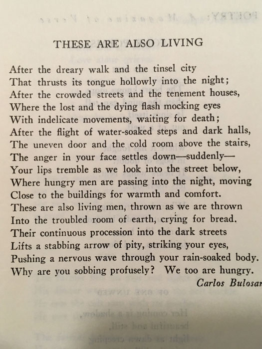 "Carlos Bulosan's ""These Are Also Living"" in Poetry Magazine"