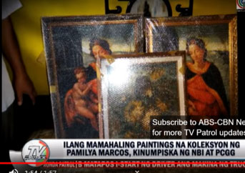 """A screen-grab of the 3 copies of the """" Madonna and Child ,"""" formerly owned by Imelda Marcos, during the confiscation raid of the Marcos home in San Juan in September, 2014. (From an ABS-CBN news report.)"""
