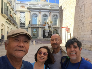With fellow Spain 2017 travelers:  left-to-right : Ben Tuason, Shauna Santos-Peterson, Joe Santos and the author, at the back entrance of the Dali Museum in Figeres, Spain, September 2017.