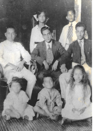 Eight of the nine children of Felipe and Leocadia Tempongko (first row, left to right), Lydia, Oscar, Sarah; (second row, left to right), Carlos, Umberto, Fernando; (top row), Esther and Ernesto. Missing from the photo is Antonio.