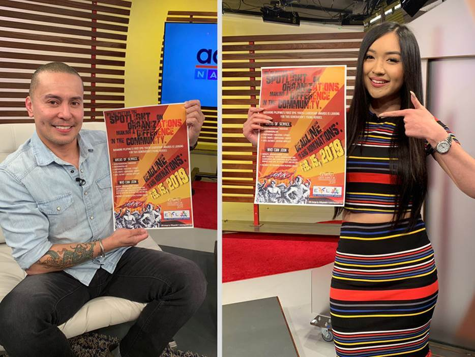 Adobo Nation   hosts Lee Robin Salazar (left) and Hannah Tolentino (right) invite viewers to send in their nominations for the Epic Youth Leadership Awards (EYLA).  Deadline to send in nominations is February 15, 2019.