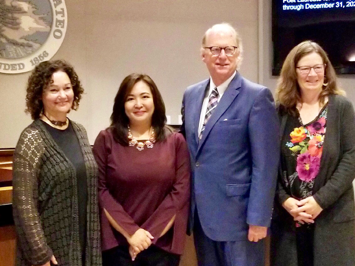 With The Honorable Warren Slocum, Vice President of the Board of Supervisors of San Mateo County; Lisa Rosenberg, Poet Laureate 2017/2018 (left); and Poet Laureate Emerita Caroline Goodwin