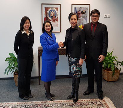 Ambassador to Austria Maria Cleofe R. Natividad (second from the left) and IAEA Division Director Dr. Jane Gerardo-Abaya (second from the right) join Consul General Deena Joy Amatong (left) and Vice Consul Allen Carillo (right). SOURCE: DFA
