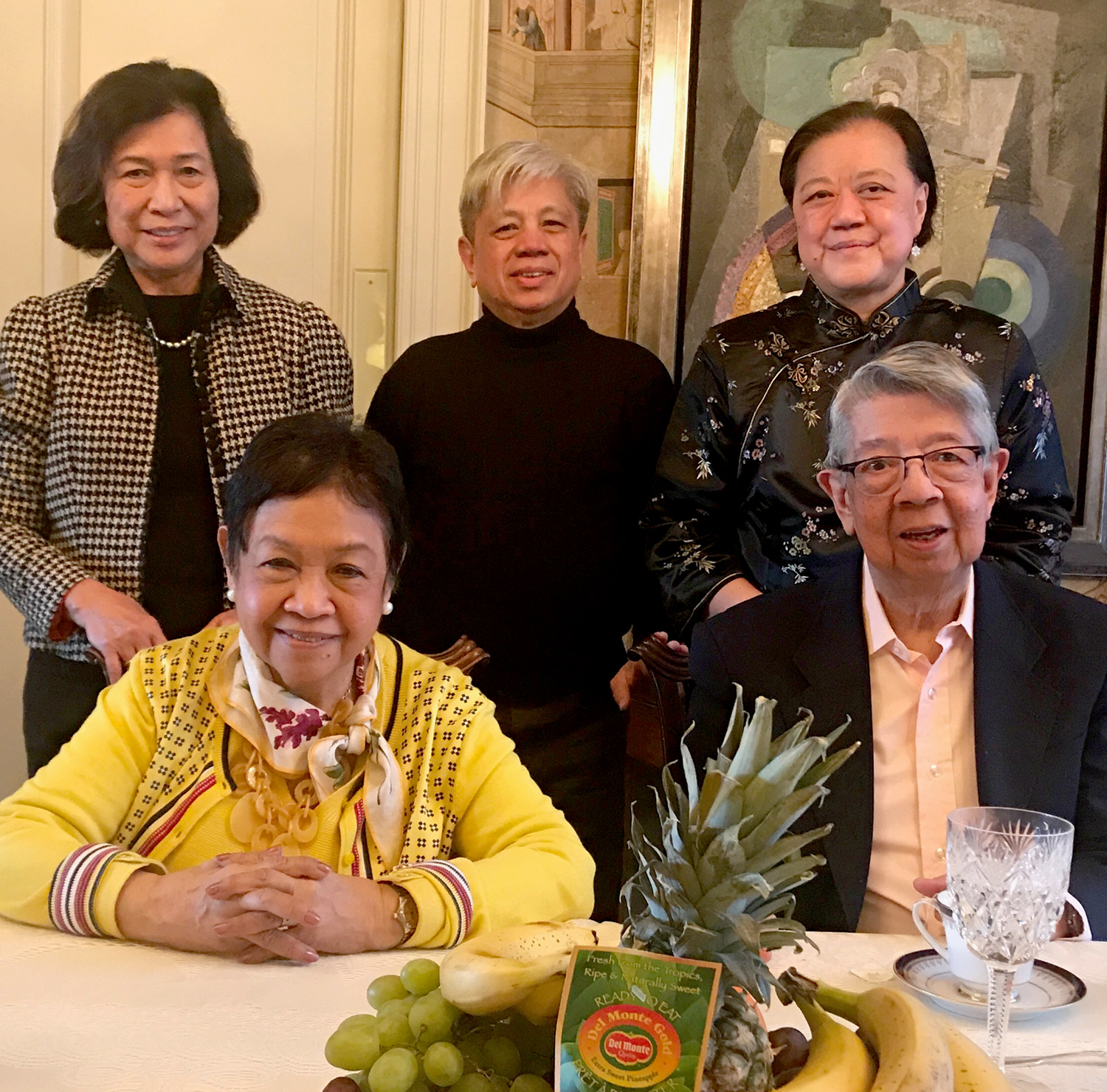 Seated, front row: Lilia and Leo Clemente, Investment Managers. Standing behind them are Loida Nicolas Lewis, Michael Dadap, and Dr. Yeou-Cheng Ma, MD of the Children's Orchestra Society.