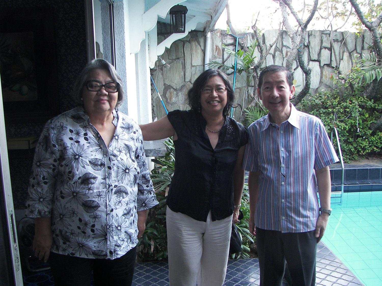 Patsy (Maria Paz) Santana, Deborah Guido Ruiz Wall and Dr. Luciano P.R. Santiago, Sta. Ana/Santana ancestral home, Pásig, Rizal, 2010.