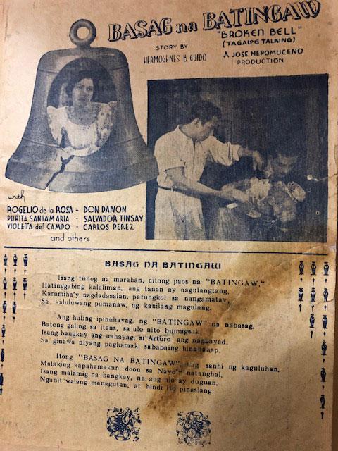 One of Hermogenes Guido's films.  Basag na Batingaw ( Courtesy of Deborah Guido Ruiz Wall)