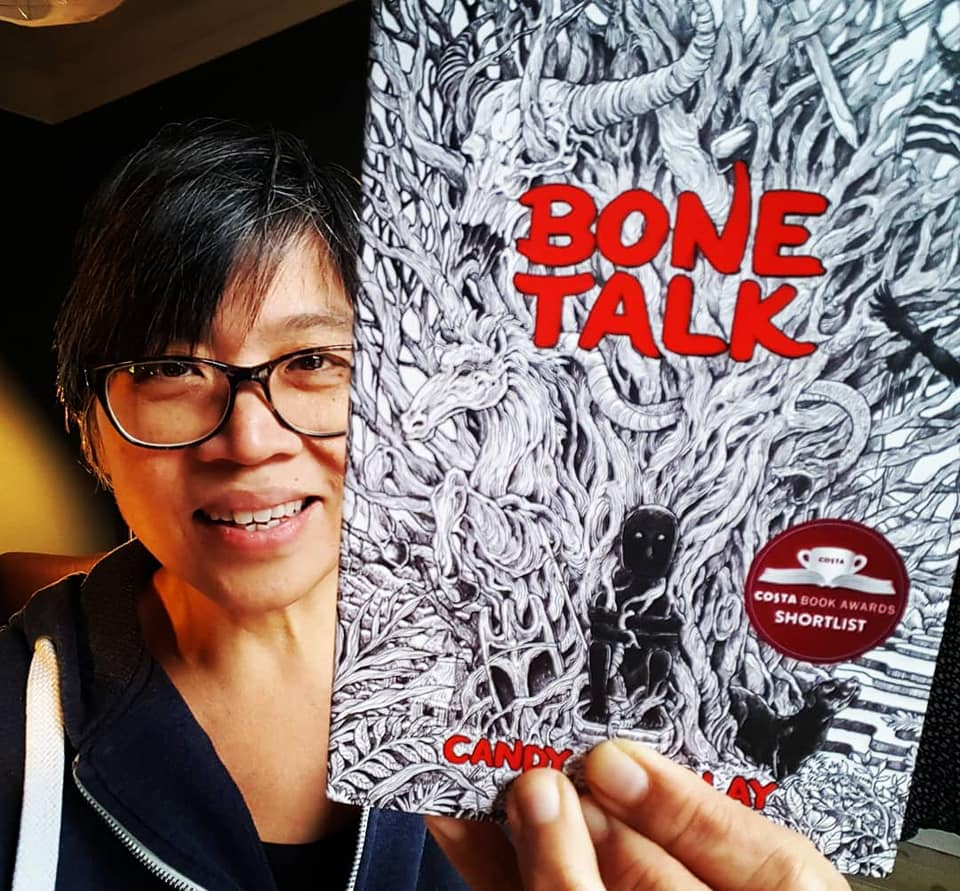 Candy and her Costa-shortlisted book,  Bone Talk  (Image courtesy of Candy Gourlay)