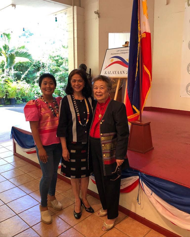 Lindy (right)at the Philippine Consulate Independence Day celebration with Elizabeth Frilles and Araceli Jimeno, wife of Philippine Consul General Joselito Jimeno.