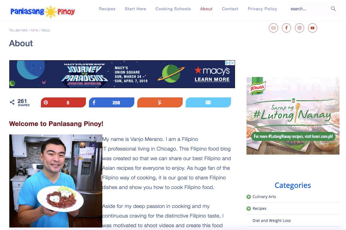 Vanjo Merano of Panlasang Pinoy, successful recipe blog and YouTube video channel (Source: PanlasangPinoy.com)