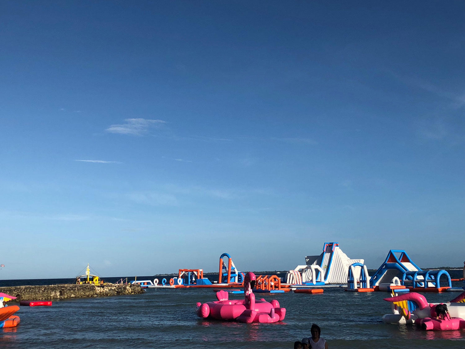 "One of the attractions of Happy Beach, an obstacle course known as the ""Inflatable Island"" (Source: Erielle Fornes)"