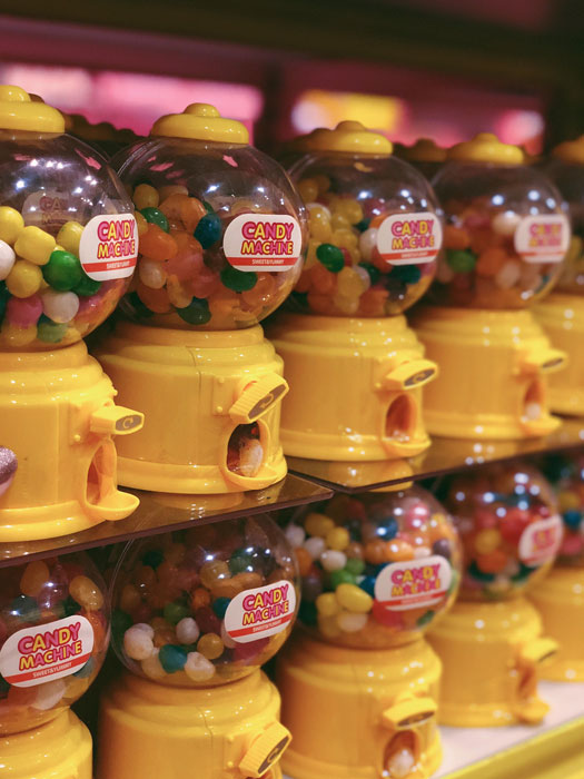 Mini gumball machines; one of the souvenirs available for purchase at Happy Beach (Source: Erielle Fornes)