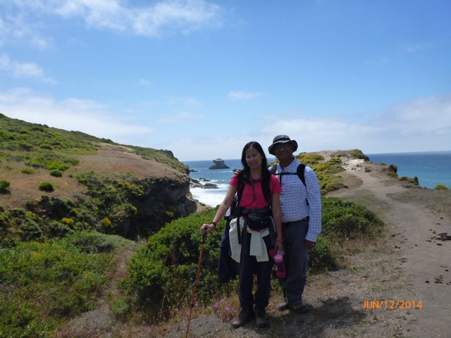 San Mateo County Healthy System Program Services Manager Edith Cabuslay and husband Ronnel Cabuslay, an application scientist at a pharmaceutical firm, hiking at Pt. Reyes.