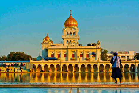 The Gurdwara Bangla Sahib, a Sikh temple, in the Delhi area.