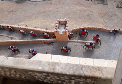 Elephants on Parade. The other way to climb to the Amber Fort – as viewed from an upper parapet. It's said that at up to ten up-and-down trips a day, the elephants were being exploited and overworked.  (Author's personal collection.)