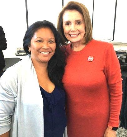 Hydra Mendoza and Speaker Nancy Pelosi