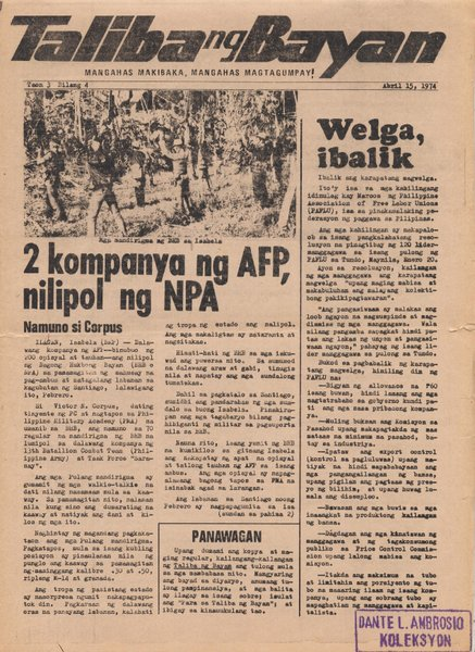 "Before her arrest, the author was one of the writers of ""Taliba ng Bayan,"" an underground newspaper during martial law. (Source:  http://iraia.net  ""Pathless Travels"" by Pio Verzola Jr.)"