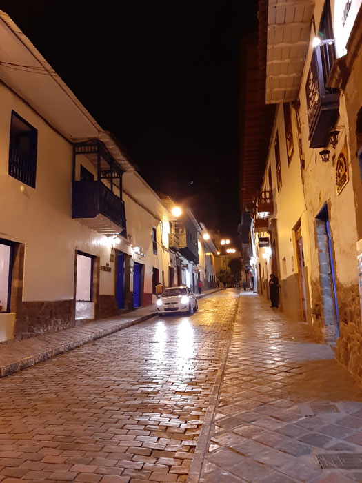 "The street where we ""lived"" in Cusco, around 9 p.m. (Photo by Bella Bonner)"