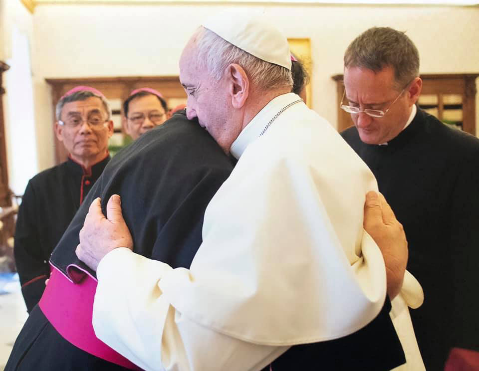 Pope Francis giving Caloocan Bishop Pablo Virgilio David his special blessing.