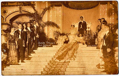 CROWNED AND CAPED. The winning 1924 Carnival Queen, Trinidad Fernandez of Palawan, attended by her King Consort and princesses, was crowned in an elaborate evening affair, with pomp and pageantry befitting a new nobility.