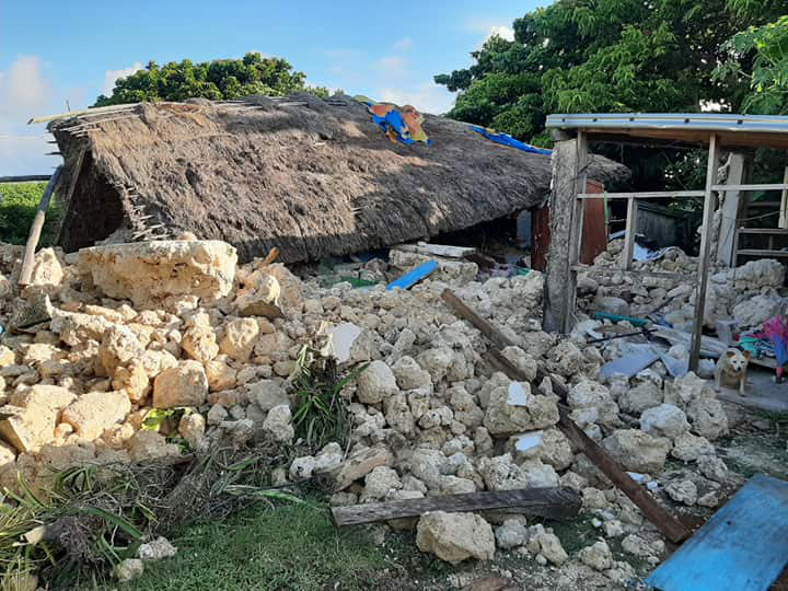 An Ivatan ancestral home destroyed by the earthquake, Barangay Sta. Lucia, Itbayat. (Photo by John Kelvin Ibanes)