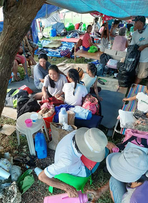 Survivors of the July 27, 2019 earthquake gather at Itbayat Town Plaza as aftershocks continued to rock Batanes. (Photo by John Kelvin Ibanes)