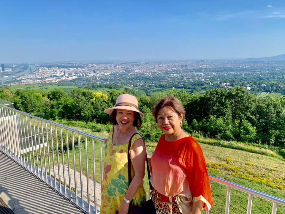 Malou and visiting classmate Ronie Nieva on the hills above Vienna.
