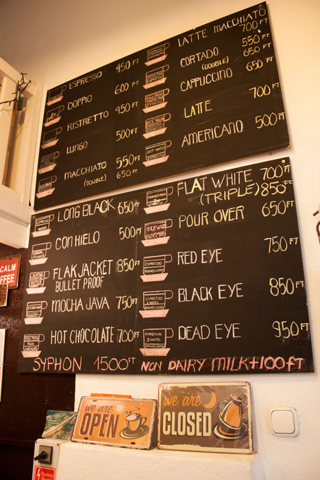 Barako Kávéház's hand-chalked menu features the top hits of third-wave coffee. (Photo by Bruno Koch)