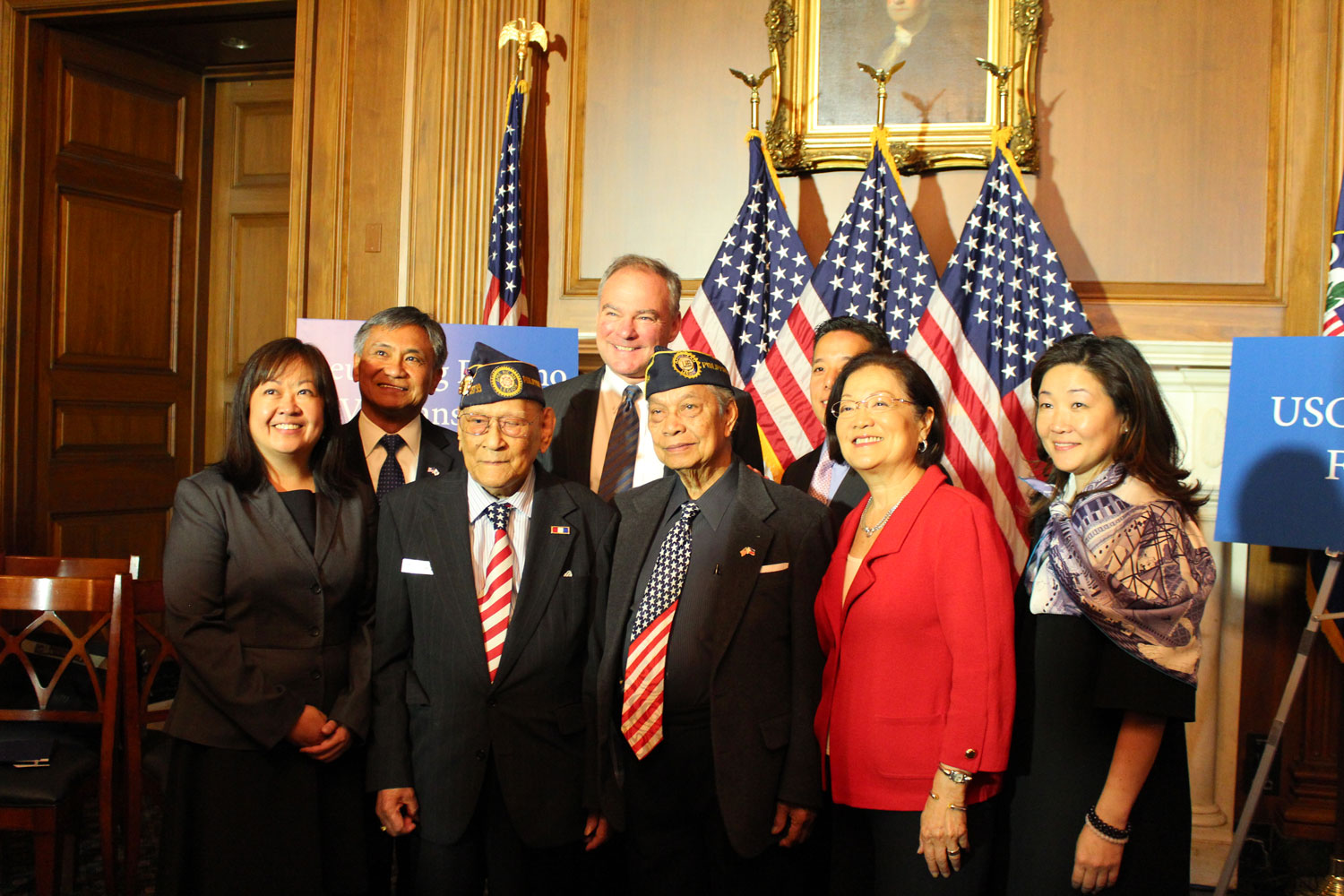 Filipino World War II veterans, members of Congress and civil rights advocates welcomed President Obama's authorization of the Filipino World War II Veterans Parole Program at a press conference on June 9, 2016 in Capitol Hill. From left: Marita Etcubanez of Asian American Advancing Justice (AAJC), Maj. Gen. Antonio Taguba (ret), Celestino Almeda, Sen. Tim Kaine (D-VA), Rudy Panaglima, NCAPA National Director Christopher Kang, Sen. Mazie Hirono (D-HI) and U.S. Citizenship and Immigration Services (USCIS) Chief of Staff Juliet Choi. (Photo by FilVetREP).
