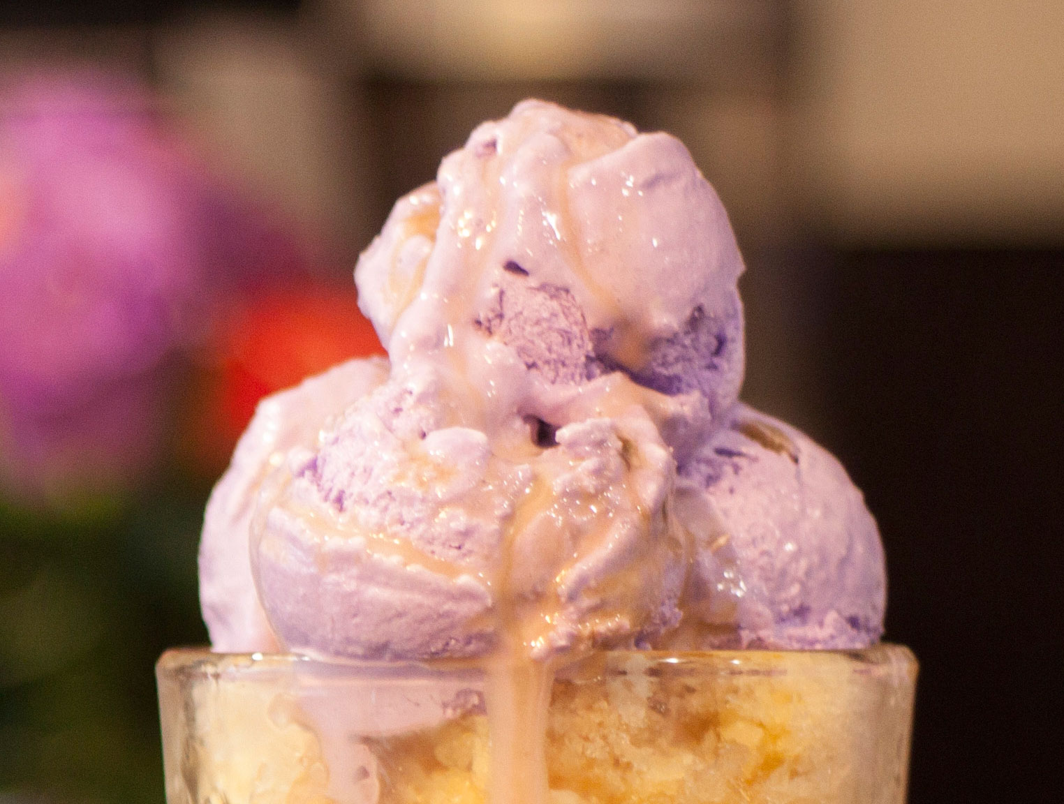 The halo-halo at Barako Kávéház is topped with three scoops of homemade ube ice cream. (Photo by Bruno Koch)