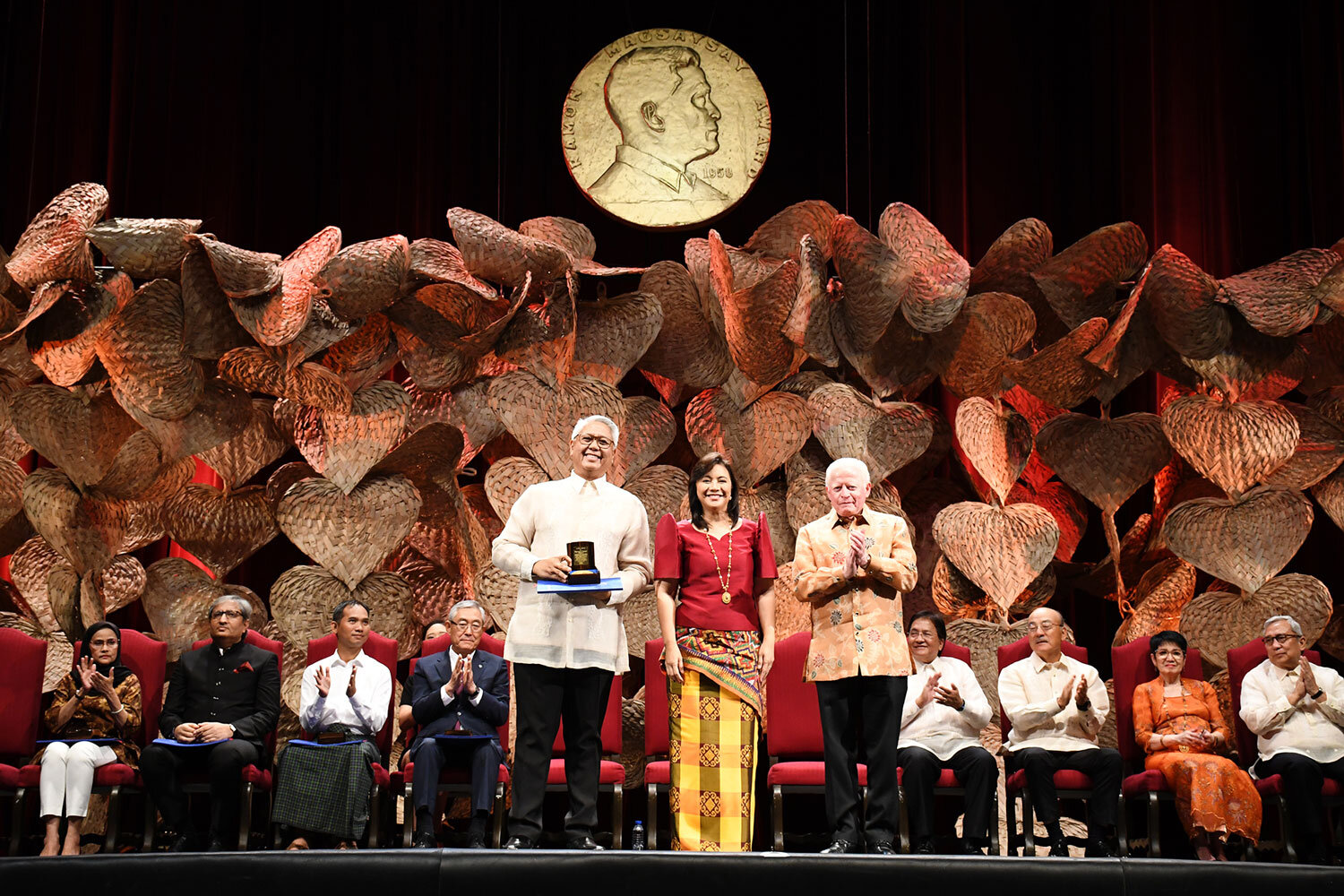 Raymundo Cayabyab receives the Ramon Magsaysay Award from Vice President Leonor Robredo and RMAF Chairman Jose Cuisia during the 2019 Presentation Ceremonies at the Cultural Center of the Philippines on September 9, 2019. (Photo courtesy of the Ramon Magsaysay Award Foundation)