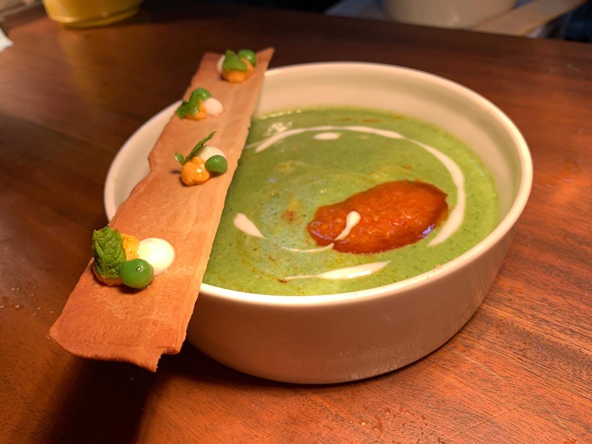 Mijo's Minted Spinach Pea (spinach and pea, sun-dried tomato pesto and yogurt)
