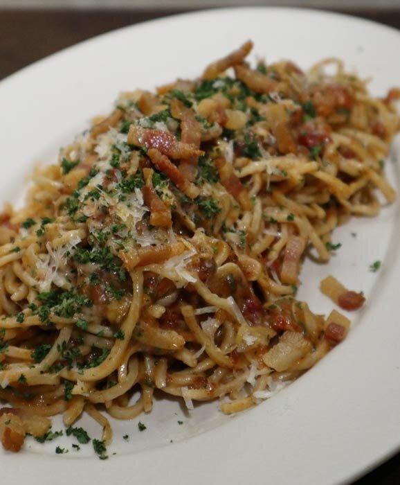 Mijo's Amatriciana (fresh rye spaghettini, tomato sauce, house cured guanciale, parmesan)