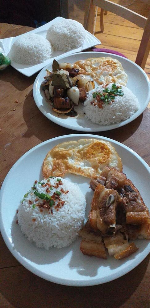 The restaurant serves hearty breakfasts, like this lechon kawali silog, to Filipino tourists staying in the Little Manila hostel upstairs. (Photo courtesy of Little Manila)