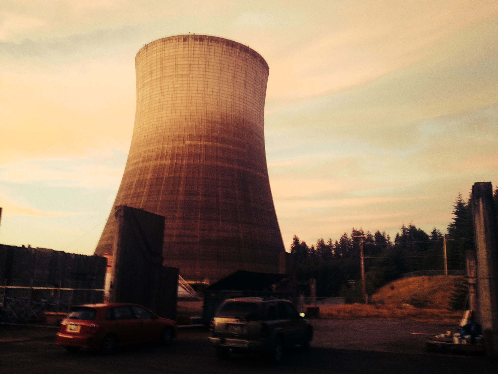One of the massive cooling towers at the SATSOP Nuclear Power Plant.