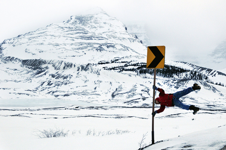 Philip Deane is nearly blown away from a glacial gust near the Columbia Icefields in British Columbia.