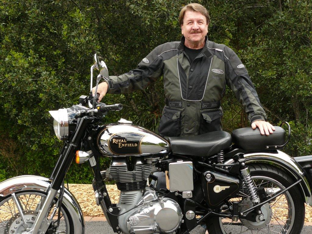 My Father, Trevor Gibson and his 2012 500cc Royal Enfield Chrome.