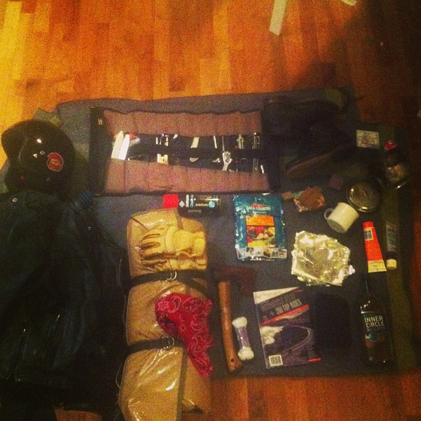 A weekends worth of supplies for motortouring - All rolled into a swag